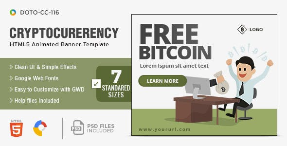 Cryptocurrency HTML5 Banners - 7 Sizes