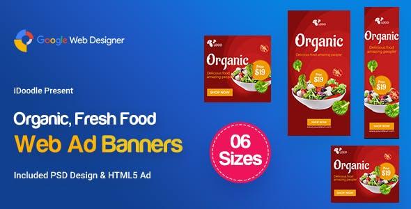 C52 - Organic, Fresh Food Banners GWD & PSD