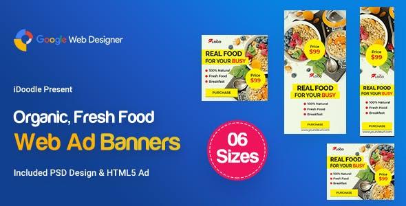 C53 - Organic, Fresh Food Banners GWD & PSD