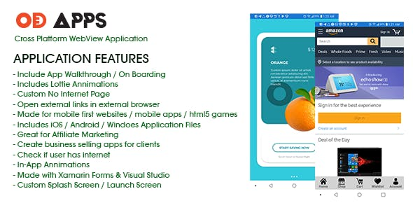 Cross Platform WebView Application iOS / Android / MAC / PC made with Xamarin Forms & Visual Studio - CodeCanyon Item for Sale