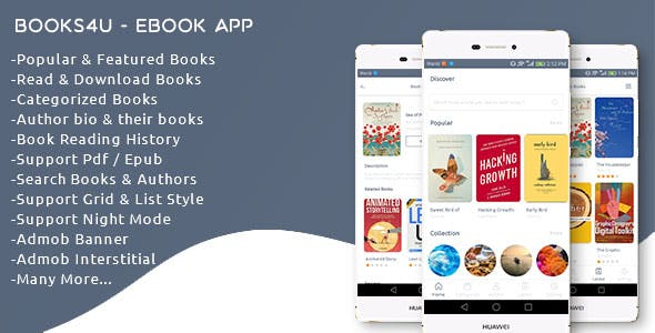 Books4u - Android Ebook App + Admin panel