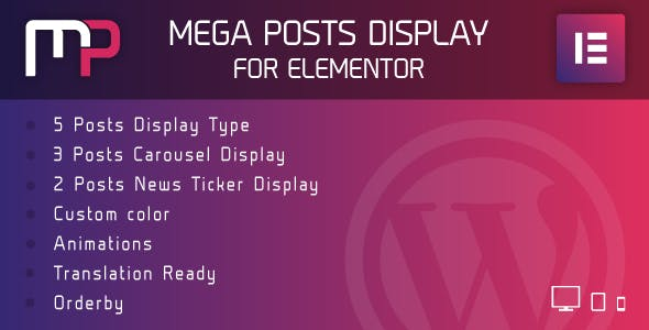 Mega Posts Display for Elementor - Premium Wordpress Plugin
