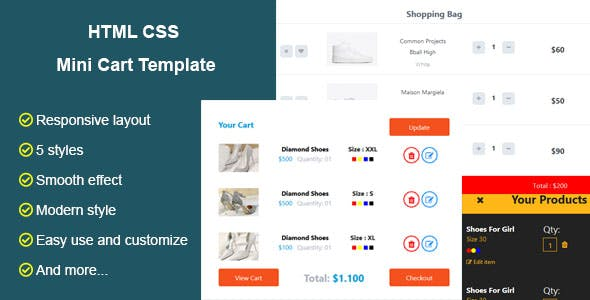 HTML CSS Mini Cart Template