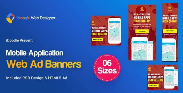 C57 - Mobile App Banners HTML5 Ad - GWD & PSD