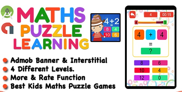 Best Kids Maths Learning Puzzle Game + Ready For Publish + Android - CodeCanyon Item for Sale
