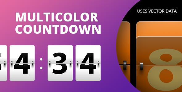 Multicolor Countdown for Adobe Muse.