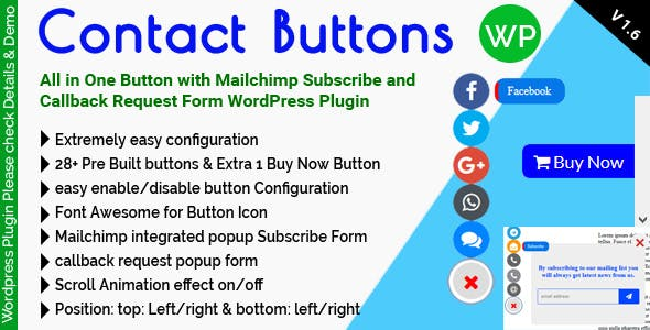 Contact Buttons - All in One Button with Mailchimp Subscribe and Callback Request Form for WordPress