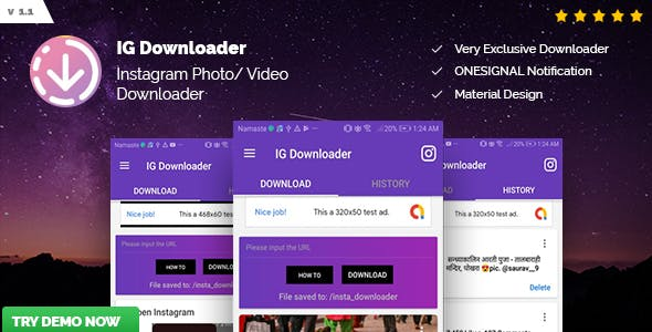 IG Downloader - Instagram Tool | Automatic, Images, Videos, Status Downloader - CodeCanyon Item for Sale