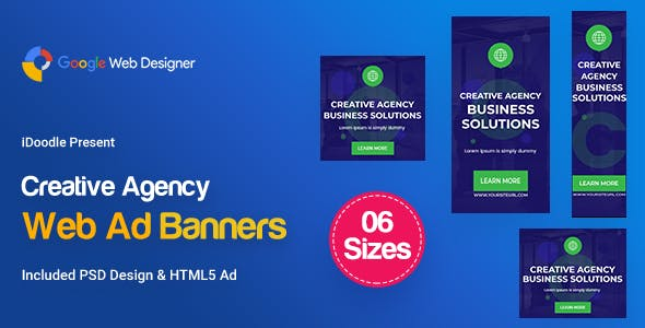 C58 - Creative, Startup Agency Banners HTML5 Ad - GWD & PSD