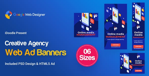 C59 - Creative, Startup Agency Banners HTML5 Ad - GWD & PSD