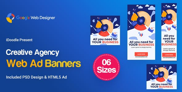 C60 - Creative, Startup Agency Banners HTML5 Ad - GWD & PSD