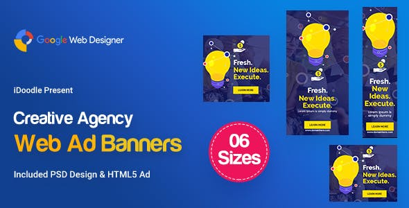 C61 - Creative, Startup Agency Banners HTML5 Ad - GWD & PSD
