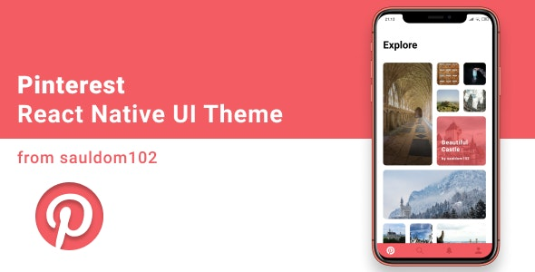 Pinterest React Native Theme - CodeCanyon Item for Sale