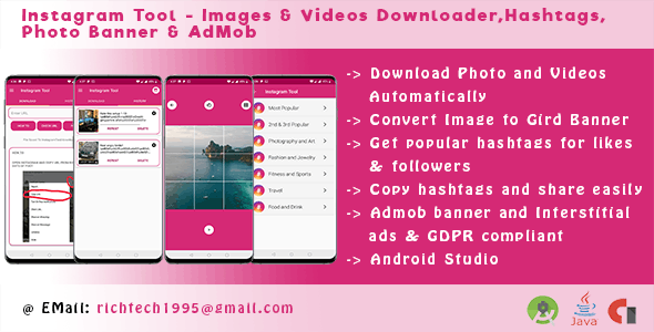 Instagram Tool - Images & Videos Downloader,Hashtags,Photo Banner & AdMob        Nulled