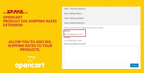 Opencart - Product DHL Shipping Rates Extension
