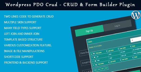 Wordpress PDO Crud – Crud & Form Builder Plugin for wordpress