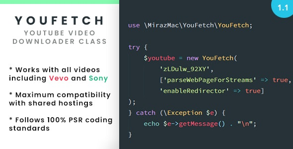 YouFetch - YouTube Video Downloader Class by mirazmac