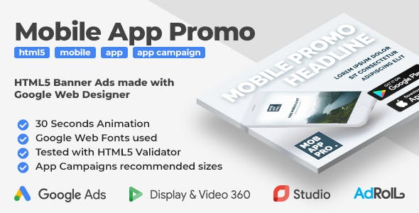 Mobile App Promo - Animated HTML5 Banner Ad Templates (GWD)