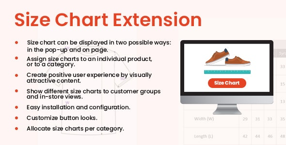 Premium Size Chart: The Magento2  Extension - CodeCanyon Item for Sale