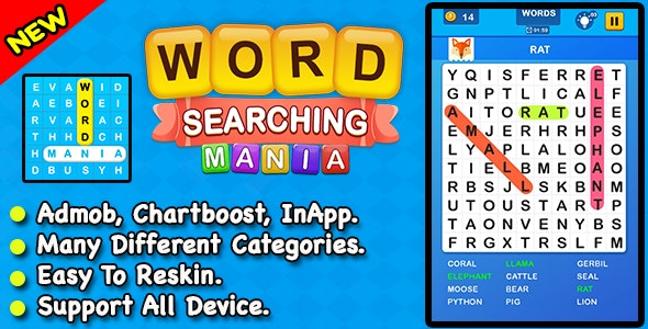 Word Searching Mania + Best Word Search Puzzle Game For IOS - CodeCanyon Item for Sale