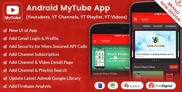 Android MyTube App (Youtubers,YT Channels,YT Playlist,YT Videos, Admob with GDPR) - CodeCanyon Item for Sale