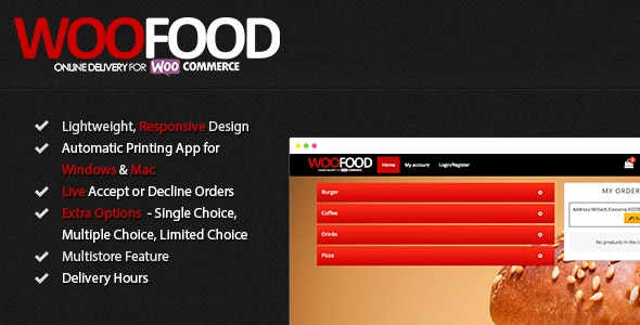 WooFood - Food Delivery Plugin for WooCommerce & Automatic Order Printing - CodeCanyon Item for Sale