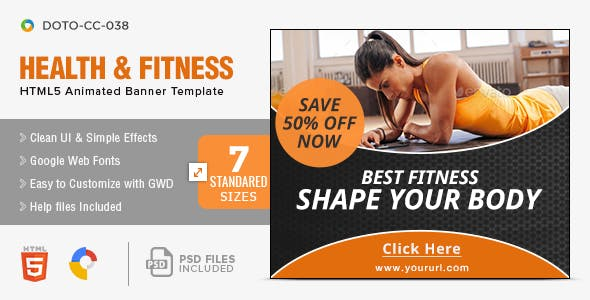 Health & Fitness HTML5 Banners - 7 Sizes