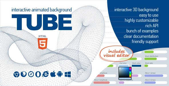 TUBE - Interactive Animated 3D Background
