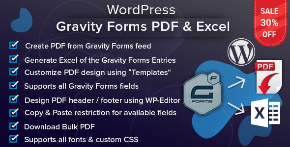 WordPress Gravity Forms PDF & Excel