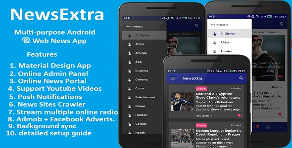 NewsExtra - Multi-purpose Android and Web News App  by