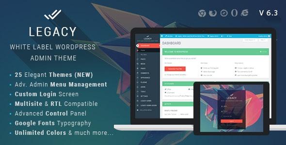 Legacy - White label WordPress Admin Theme by themepassion | CodeCanyon