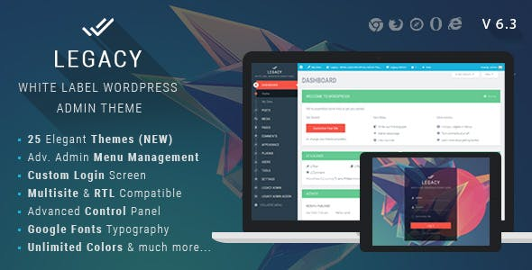 Legacy - White label WordPress Admin Theme