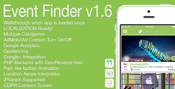 Event Finder Full iOS Application v1.6