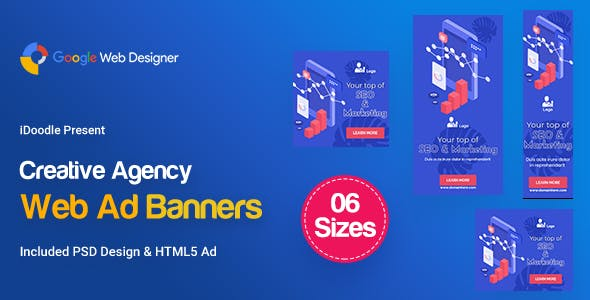 C63 - Creative, Startup Agency Banners HTML5 Ad - GWD & PSD