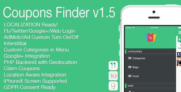 Coupons Finder Full iOS Application v1.5