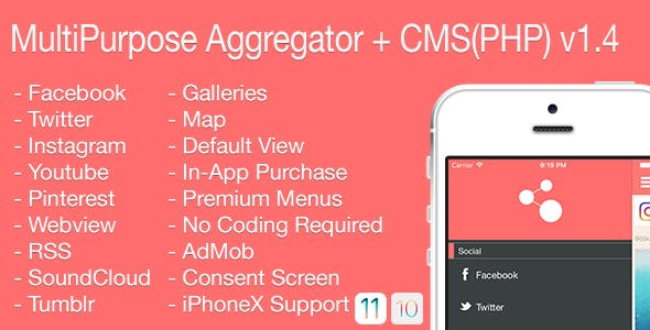 Multi-Purpose Aggregator + CMS(PHP) iOS Application v1.4