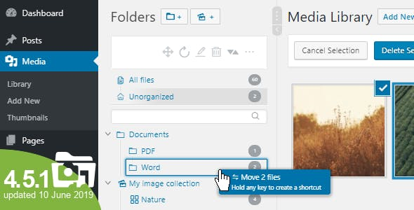 WordPress Real Media Library - Media Categories / Folders File Manager