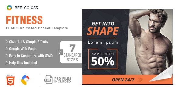 Fitness HTML5 Banners - 7 Sizes - CodeCanyon Item for Sale