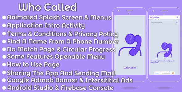 Who Called Android Mobile App - Template