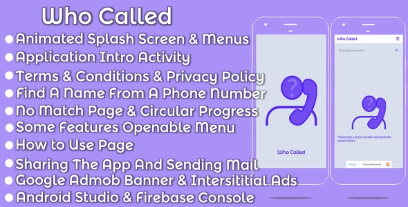 Who Called Android Mobile App - Template by ixastudio