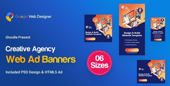 C68 - Creative, Startup Agency Banners HTML5 Ad - GWD & PSD