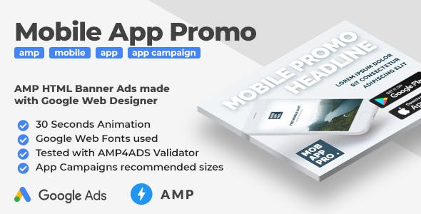 Mobile App Promo - Animated AMP HTML Banner Ad Templates (GWD, AMPHTML)