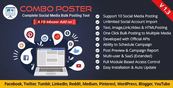 ComboPoster - A EZ Inboxer Add-on : Complete Social Media Bulk Auto Poster (10 Social Media)
