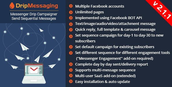 Messenger Drip Campaigner - A Bot Inboxer Add-on : Send Sequential Message to Messenger Subscriber