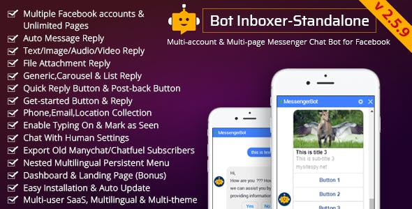 Bot Inboxer - Standalone :  Multi-account & Multi-page Messenger Chat Bot for Facebook