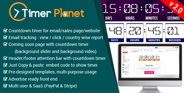 TimerPlanet - email,website & attention bar countdown timer