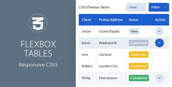 Responsive CSS3 Flexbox Tables by QuanticaLabs | CodeCanyon