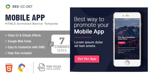 Mobile App HTML5 Banners - 7 Sizes