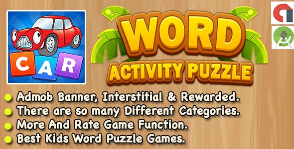 Word Activity Puzzle Game For Kids + Android Studio + Ready For Publish