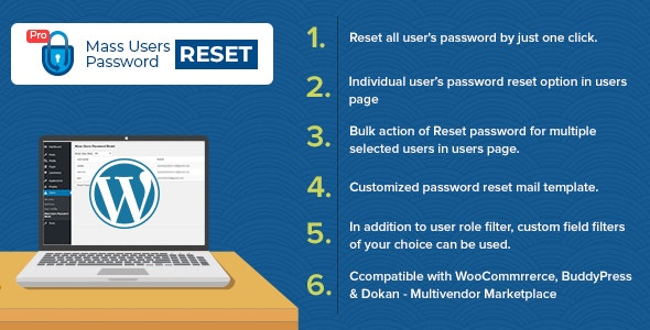 Mass Users Password Reset Pro - CodeCanyon Item for Sale